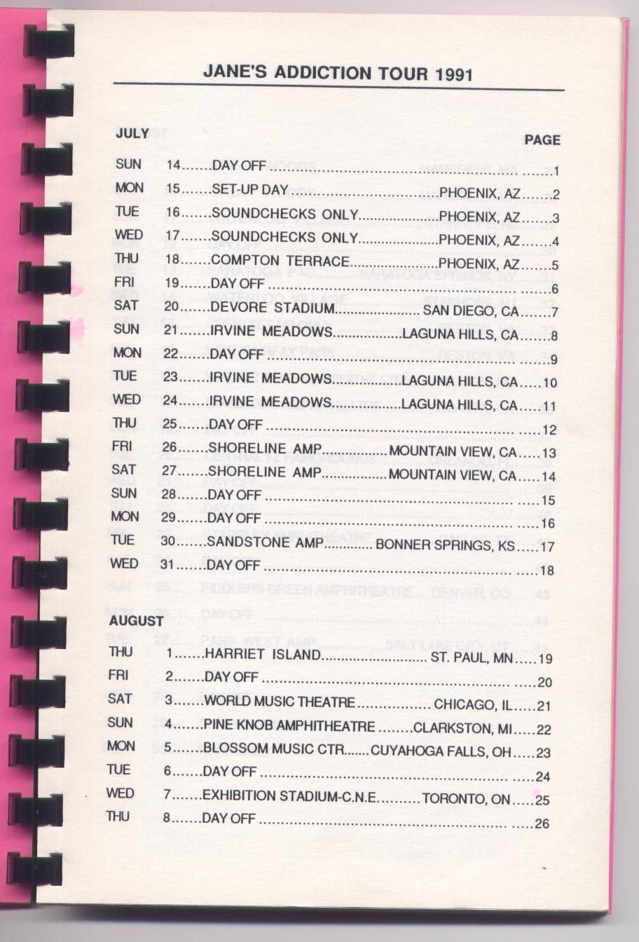 Janesaddiction Org Tour Info Jane S Addiction August 04 1991 Pine Knob Music Theatre